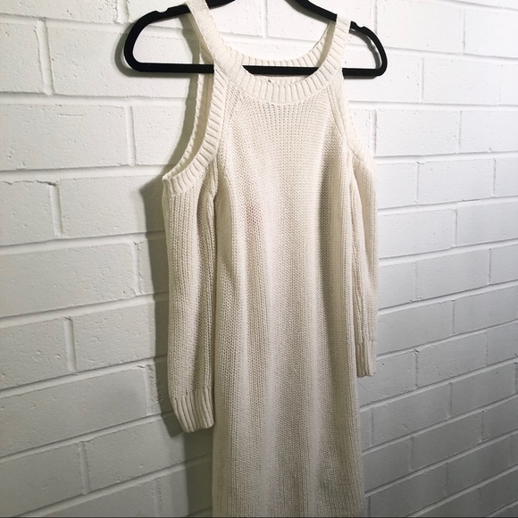 Sweater Dress Cold Shoulder Ivory Sz Small NWT